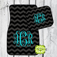 Car Mats Chevron Personalized Monogrammed Floor Car Mat Initial Black Dark Gray Turquoise