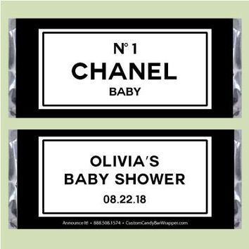 Chanel Baby Shower Candy Bar Wrappers