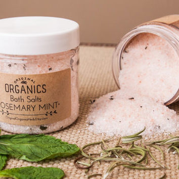 Energizing Bath Salts // ROSEMARY MINT - 4 oz // Himalayan Pink Salt + Epsom Salt + Organic Essential Oils // Naturally DETOXIFYING