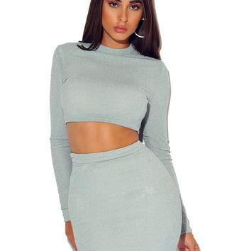 NINI SPARKLE JERSEY CROP TOP