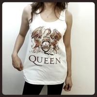 Queen - Logo Sign English Rock Band Singer Womens Printed Tank Top Crop Top White TShirt