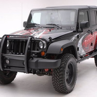 Jeep Wrangler Jeep Wrangler One Piece Grill/Brush Guard Black Grille Guards & Bull Bars Stainless Products Performance
