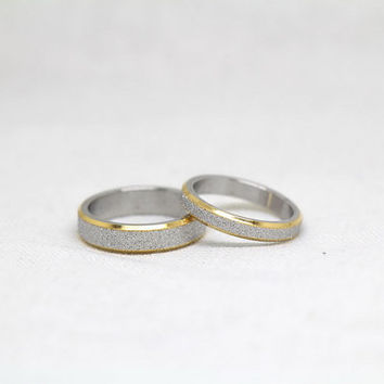 2pcs-Free Engraving,Frosted Ring, promise ring,couple Rings, Lovers rings