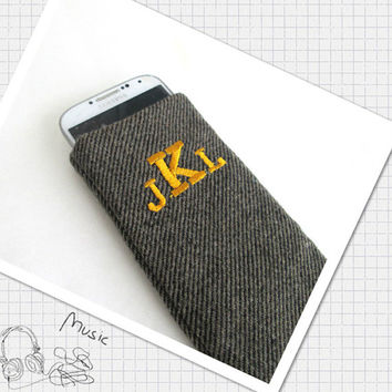 Monogrammed Wool iPhone 6S Case, iPhone 6S Plus Case, Smartphone Case, Galaxy 6s case, Mens iPhone case.