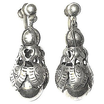 Mexican Silver Orb Drop Earrings