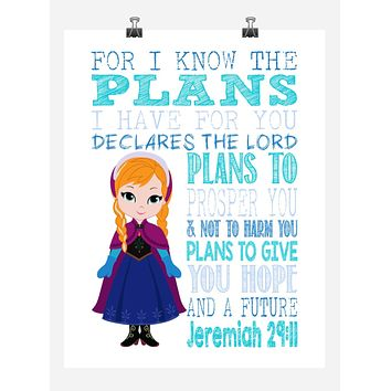 Frozen Christian Princess Anna Nursery Decor Wall Art Print - For I Know The Plans I Have For You - Jeremiah 29:11 Bible Verse - Multiple Sizes