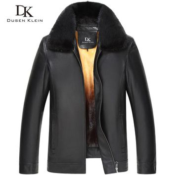 Dusen Klein Luxury Men Genuine Leather Jacket Winter Outerwear Mink Fur Liner/Black/Slim Sheepskin Coat 15Z1532
