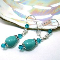 Swarovski Jade Pearl and Indicolite Crystal Sterling Silver Earrings