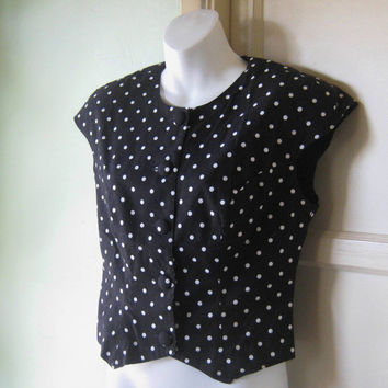 Vintage Black/White Polka Dot Top - White Polka Dot Cropped Black Top - Black/White Polka Dot Shell with Shoulder Pads; Medium-Large