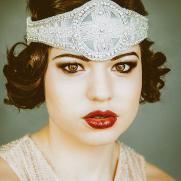 1920's Inspired Bridal Flapper Headpiece, Bohemian Style Headband silver beaded with crystal, The Great Gatsby, for a vintage 1920's wedding