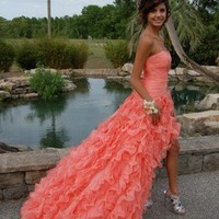 Orange Ball Gown Sweetheart High-low Asymmetrical Prom Dress from Gorgeous prom