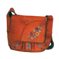 1970's Char Handpainted Whipstitched Leather Bohemian Hippie Messanger Bag Purse