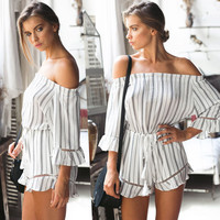 Color Block Striped Lace-up Waist Romper