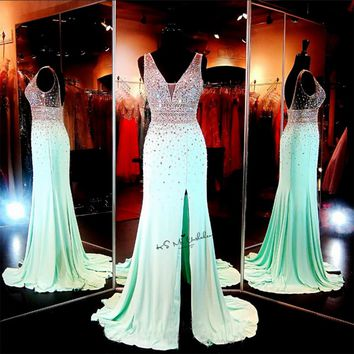Luxury Mint Green Crystals Prom Dresses Long 2017 Formal Evening Gowns Mermaid Split Side V Neck Back Vestidos de Festa Sexy