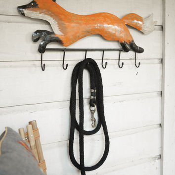 Recycled Painted Metal Fox Coat Rack