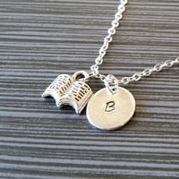 Silver Book Necklace - Open Book Charm Necklace - Personalized Necklace - Custom Gift - Initial Necklace - Author Gift - Writer Book Lover
