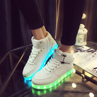 Creative Bright Colorful Winter Stylish Lightning Shoes Round-toe High-top Flats LED Noctilucent Lights [6734566407]