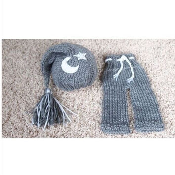 New baby clothing star moon Knitting Handmade infant hat baby Knit crochet set hat +pants newborn photography props outfit 0-12month = 1958176260