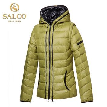 SALCO Free shipping new European and American fashion ladies hooded down jacket detachable sleeves