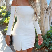 FASHION DEW SHOULDER BODYCON DRESS