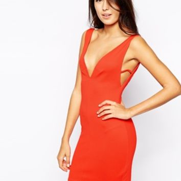Oh My Love Plunge Body-Conscious Dress with Side Strap Detail - Burnt