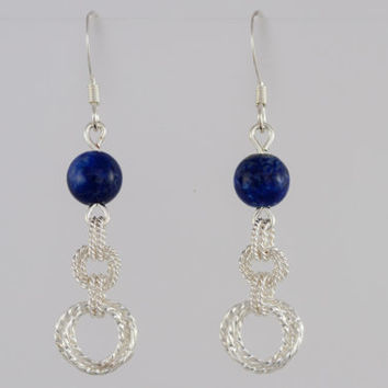 Lapis Lazuli Beaded Earrings with Silver Twisted Rings on Sterling Silver Ear Wires