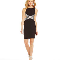 Blondie Nites Illusion Beaded Waist Sheath Dress | Dillards