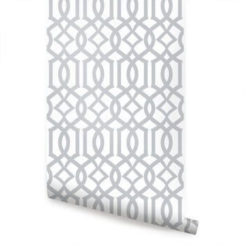 Trellis V2 Grey Peel & Stick Fabric Wallpaper Repositionable