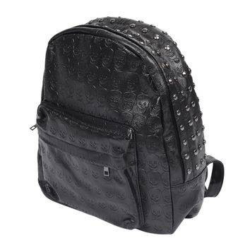 Backpack Bag Black Rivet Goth PU Skull Patterned Shoulder Bag
