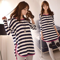 Long-Sleeve Striped Maternity T-shirt Autumn Clothes for Pregnant Women Cotton Clothing for Pregancy Tops Tees 175 # = 1945779204