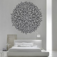 Wall Decor Vinyl Sticker Room Decal Flower Blossom Aster Petal Nature Bedroom Leaf Herb (S187)