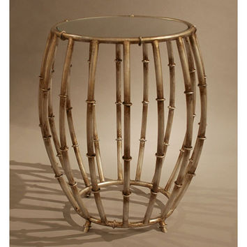 Dessau Home HC673 Antique Silver Bamboo Drum Accent Table with Mirror Top