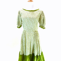Vintage Square Dance Dress / Shamrock Dress / Puff Sleeve Dress / Green Floral Print S M
