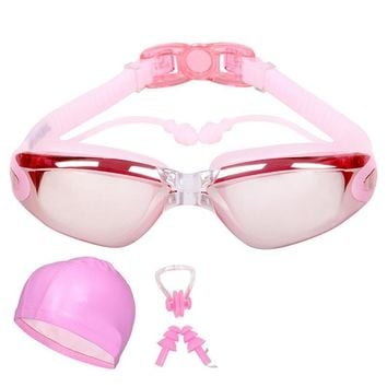 Silicone Anti-fog Waterproof Swimming Eyewear Goggles with Swim Cap Nose Clips Ear Plugs for Adults Woman and Men