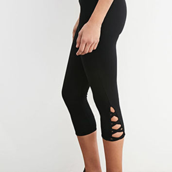 Crisscross-Cutout Capri Leggings
