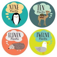 Little Animal Lovers Monthly Milestone Stickers