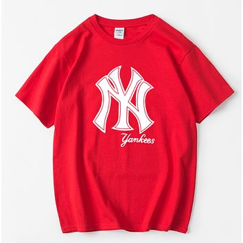 NY Summer Fashion New Letter Print Women Men Leisure Top T-Shirt Red