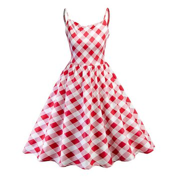 Women A-Line Cute Dress Summer Sling Bright Red Pullover Plaid Zipper Punk Style Vintage Girl Fashion Lovely Active Female Dress