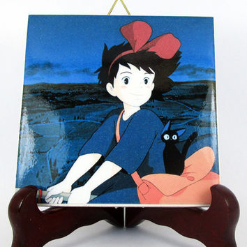Kiki and Jiji the Cat from Kiki's Delivery Service Ceramic Tile     fan art Studio Ghibli Hayao Miyazaki Anime from Italy M3