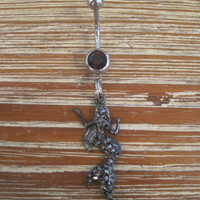 Belly Button Ring - Body Jewelry - Mermaid with Double Dark Purple Gem Stones Belly Button Ring