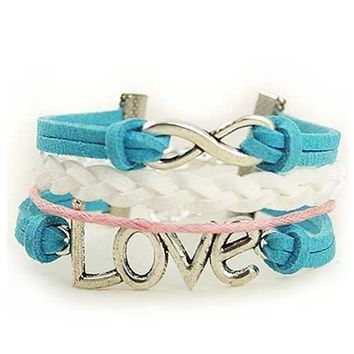 Infinity Love Bracelet (Blue  Pink and White)