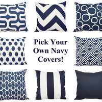 Navy Pillow Covers - Two Navy and White Throw Pillow Covers - 20 x 20 Inch Navy BluePillow Cover - Decorative Pillow Navy Blue Pillows