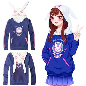 Overwatch Dva I Play To Win Bunny Ears Pullover Hoodie