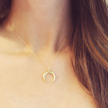Gold Horn Necklace | Double Horn Necklace