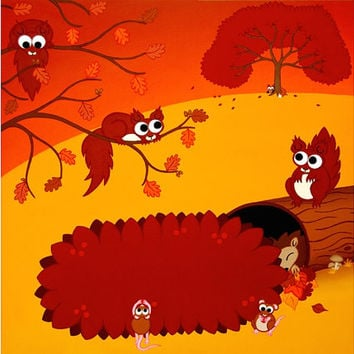 """Autumn Landscape Print, 12"""" square - cartoon nursery art, autumn scene with cute animals, featuring red squirrels, mice, a hedgehog and fox"""