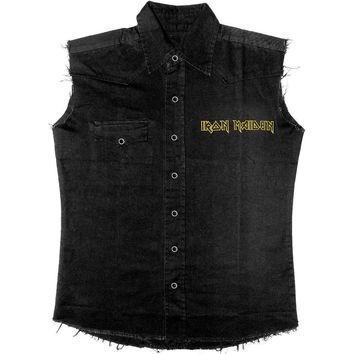 Iron Maiden Men's  Fear Of The Dark Work Shirt Black Rockabilia