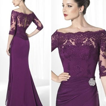 Purple Lace Mother Of The Bride Dresses Chiffon Women Evening Dress Formal Gowns Custom Mother Dress With Sleeve Vestido De Festa = 1929987332