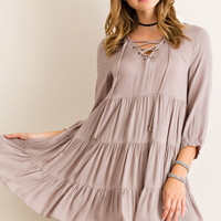 Tiered Baby Doll Dress - Mocha