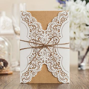 10pcs/lot white laser cut hemp rope ribbon wedding invitation cards wedding favors free shipping