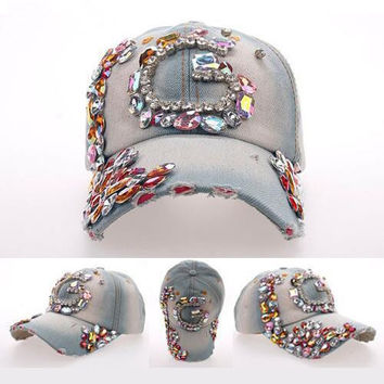 2015 New Top Design Adjustable Baseball cap Fashion Leisure G color Rhinestones Flowers Jean Snapback Baseball Hat Cap For Women